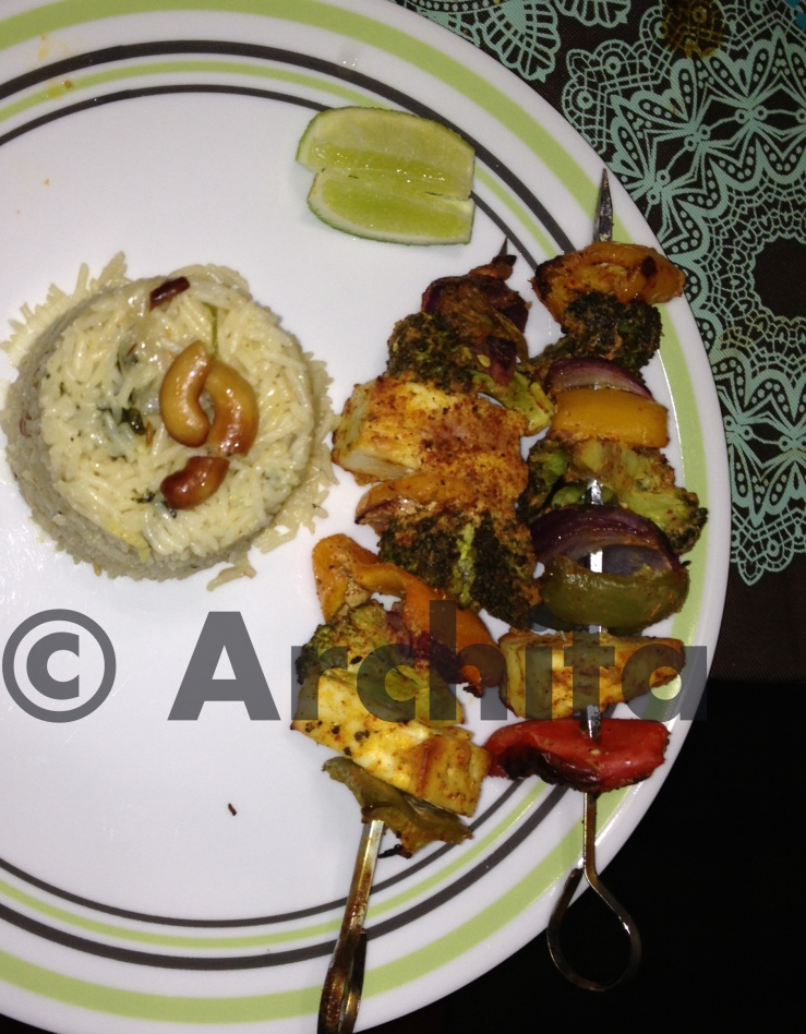 biriani with kebabs