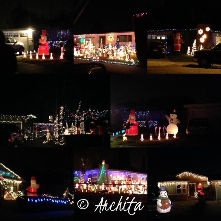 collage christmas lights
