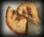 Homemade grilled cheese with red bell peppers