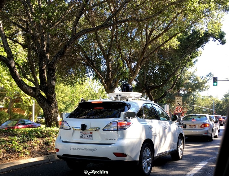 self driving car on road